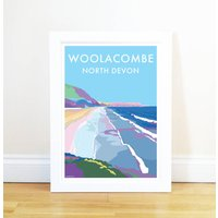 Woolacombe Vintage Style Seaside Poster