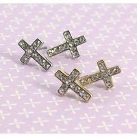 Crystal Cross Earrings, Gold/Silver