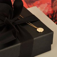 Double Sided Solid Gold Disc Initial Necklace, Gold