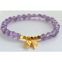 Amethyst And Gold Angel Wing Bracelet, Gold