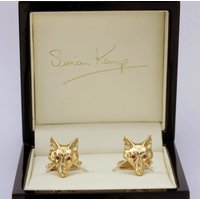 Fox Head Cufflinks In Solid Gold With Rubies, Gold