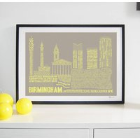 Birmingham Typography Print, Grey/White/Pale Aqua