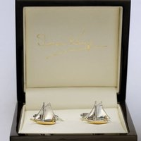 Sailboat Cufflinks Solid White Gold, Gold