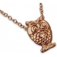 Owl Necklace In Rose Gold Vermeil, Gold
