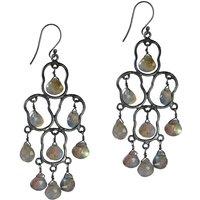 Kesia Earrings Oxidized Silver And Labradorite, Silver