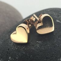Rose Gold Chunky Heart Earrings, Gold