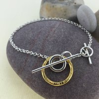 Silver And Gold Circle T Bar Bracelet, Silver