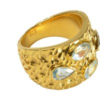 Paola Ring Blue Topaz And Gold, Gold