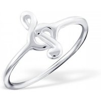 Treble Clef Musical Note Ring In Sterling Silver, Silver