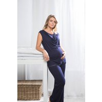 Mirage Maternity / Breastfeeding Pyjamas, Navy/Grey/Dusky Pink