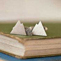 Handmade Sterling Silver Mountain Cufflinks, Silver