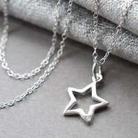 Silver And Diamond Open Star Necklace, Silver