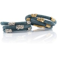 Blue Suede Wrap Bracelet With Gold Sliders, Gold