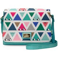 Dont Be Square Triangle Patterned Handbag, Turquoise