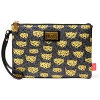 Illustrated Leopard Print Clutch Bag