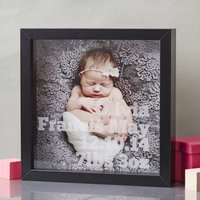 New Baby Personalised Etched Framed Print, Black/White