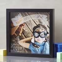 Personalised Child's Etched Framed Print, Black/White