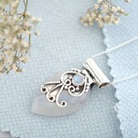 Boho Moonstone And Silver Necklace, Silver