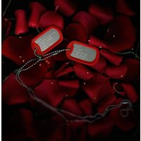 Personalised American Army Dog Tag Necklace, Black/Red/Blue