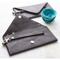 Personalised Envelope Leather Purse / Mini Clutch, Brown/Teal/Red