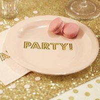 Pastel Pink Party Gold Foiled Paper Plate, Pink