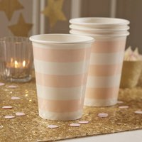 Pastel Pink Striped Paper Cups, Pink