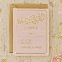 Pastel Pink And Gold Foiled Wedding RSVP Cards, Pink