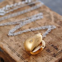 Gold Heart Locket Topaz November Birthstone Necklace, Gold