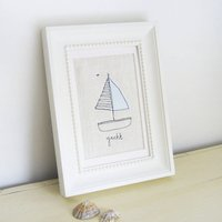 Embroidered Linen 'Yacht' Picture
