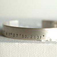 Mens Personalised Latitude Longitude Silver Bracelet, Silver