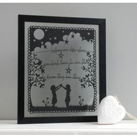 'Sisters Are Like Stars' Papercut Picture, White/Black