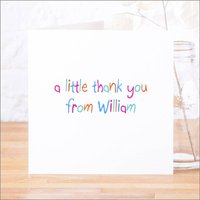 Single Or Pack Of Personalised Thank You Cards D4, Baby Pink/Pink/Light Blue