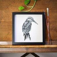 Kingfisher Print, Black/White