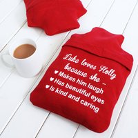 Personalised Love You Because Hot Water Bottle Cover, Red/Pale Pink/Pink