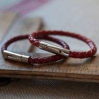 Luxury Leather Bracelet Reds, Dark Red/Red
