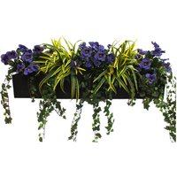 Artificial Pansy And Dracaena Window Box, Black/Red/Yellow