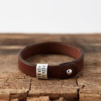 Personalised Silver And Leather Bracelet, Silver