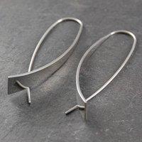 Drop Sterling Silver Earrings, Silver