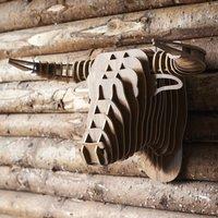 Wooden Bull Trophy Head