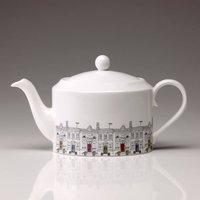 Large Street Scene China Teapot