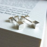 Silver Cube Earrings, Silver
