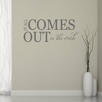 It All Comes Out In The Wash Wall Sticker, Black/White/Cream