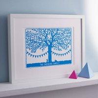 Personalised Family Tree Papercut Print, Blue/Green/Navy