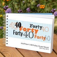 Personalised Boys 40th Birthday Guest Book, White/Black