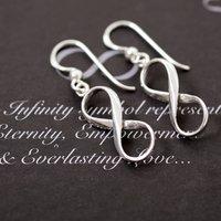 Sterling Silver Infinity Hook Drop Earrings, Silver