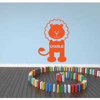 Personalised Lion Wall Sticker, Black/White/Cream
