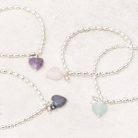 Maya Stone Heart Personalised Silver Bracelet, Silver