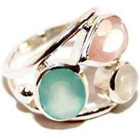 Silver Ring With Aqua, Rose And Moonstone, Silver