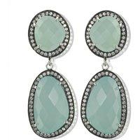 Aqua Diamante Gemstone Drop Earrings