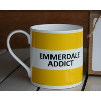 'Emmerdale Addict' Mug, Coffee/Yellow/Lilac